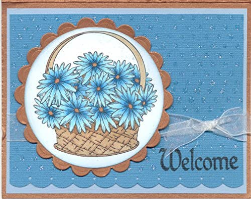 Daisy Basket Rubber Stamp by DRS Designs