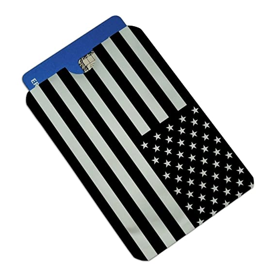 Subdued Reverse American USA Flag Black Credit Card RFID Blocker Sleeves Set