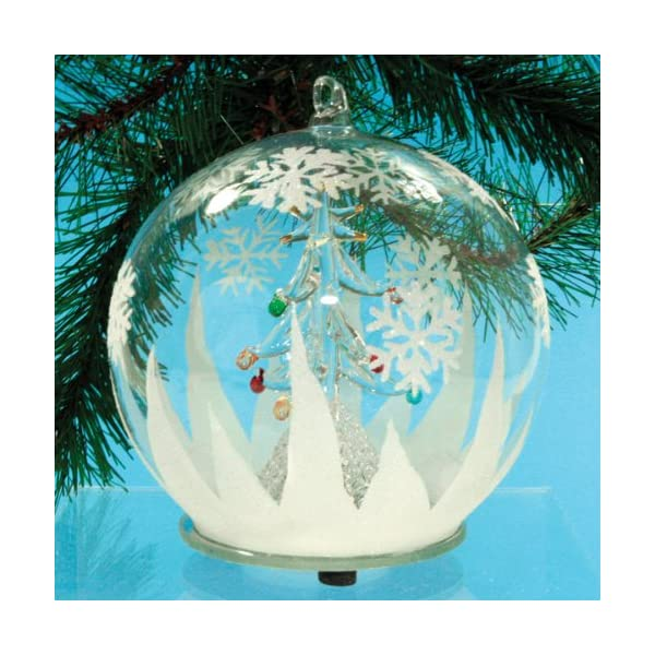 Led Glass Globe Christmas Tree Ornament With Tree Inside Color