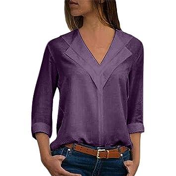 d5e7388f06835 XLGX Chemisier Femme Manches Longues Tunique Button Up Shirt Rayé Chemise  Col V Top Blouse Mode