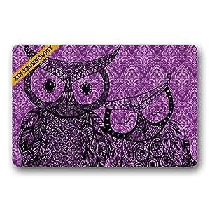 Yaneocm Felpudos de goma antideslizante divertidos búhos alfombra de entrada alfombra alfombra de suelo durable hogar interior alfombrillas
