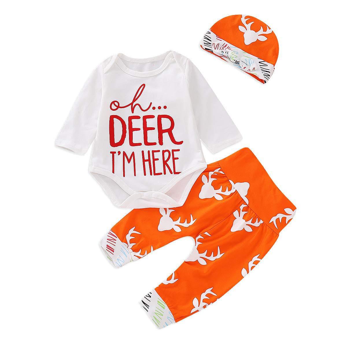 Caibiet PANTS ユニセックスベビー 3 - 6 Months Newborn Elk Xmas Sets B07JX4XXCX