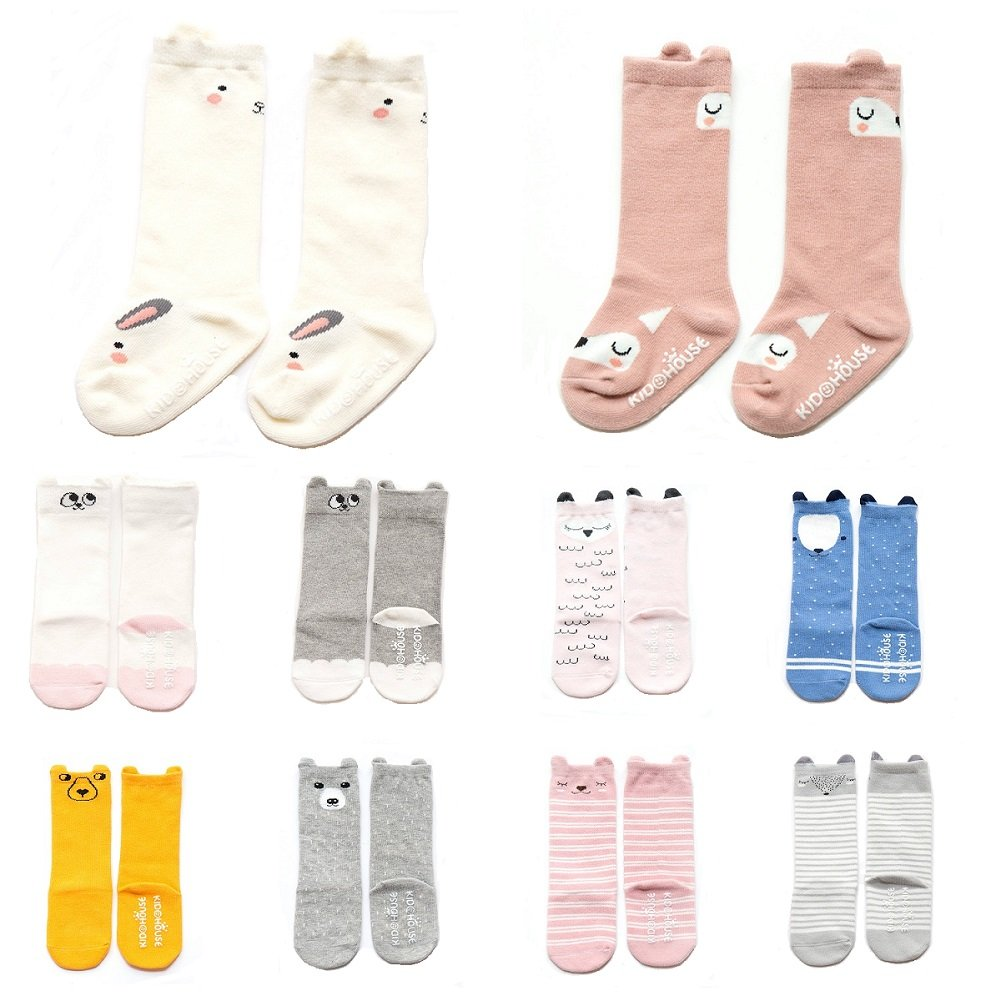 Baby Toddler Girls Boys Knee High Socks, Kid Anti Slip Cartoon Animal 10 Pairs Cotton Stockings (0-2 Years)