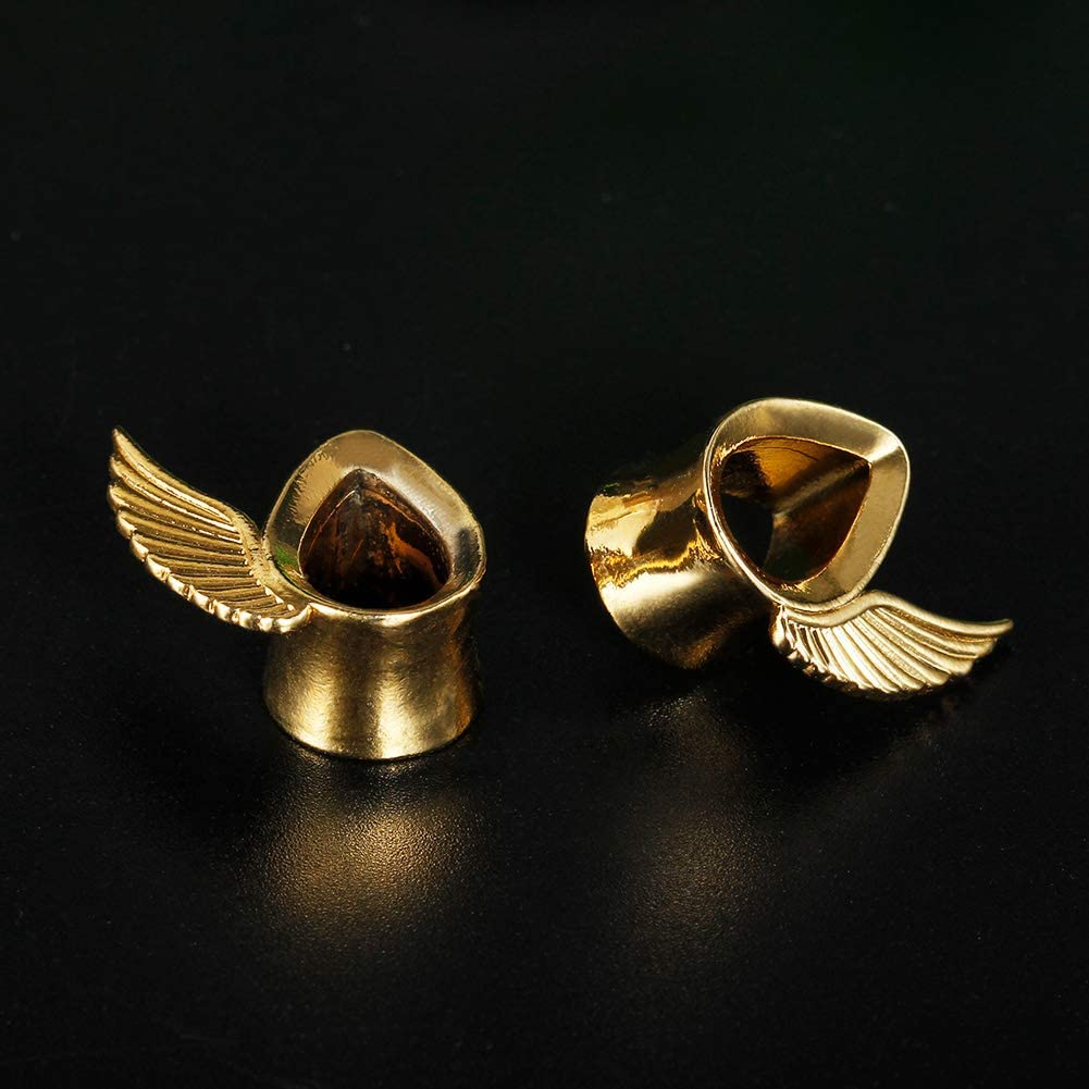 COOEAR 1 Pair Surgical Steel Ear Gauges Tear Drop Ear Tunnels and Plugs Seashell Earrings Stretcher.