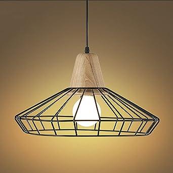 Douille Niuyao Industriel Lustre Jour Style Lumière Abat Pendentif Suspension Cage En Métal Avec Lampe Loft Vintage 54AR3jL