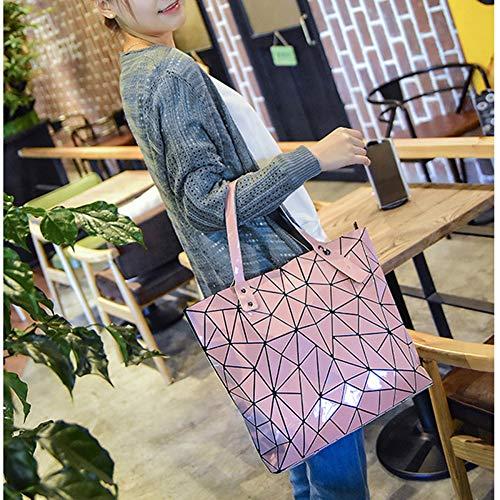 De Para Capacidad Mano Pink Wu Pvc Mujer Bolsos Gran Messenger Bolso Zhi Geométrico qxIBOBPwEf