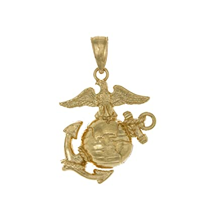 Amazon 14k yellow gold usmc pendant small marine corps 14k yellow gold usmc pendant small marine corps symbol 2d eagle globe aloadofball Images