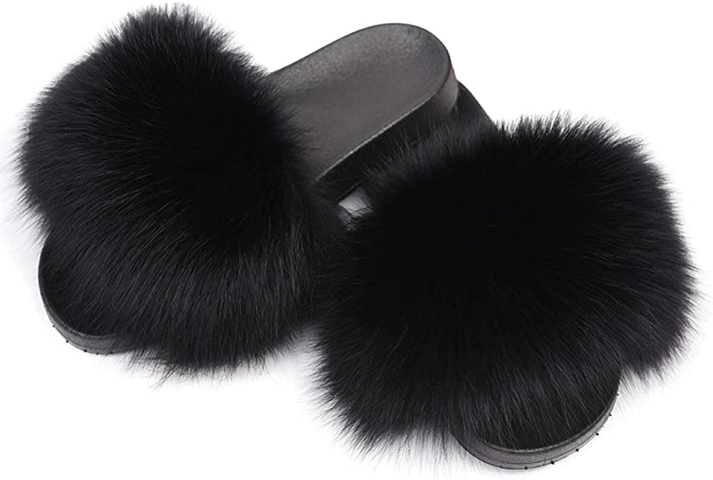 Rainbow Womens Slides Real Fox Fur Sliders Beach Sandals Slippers Casual shoes