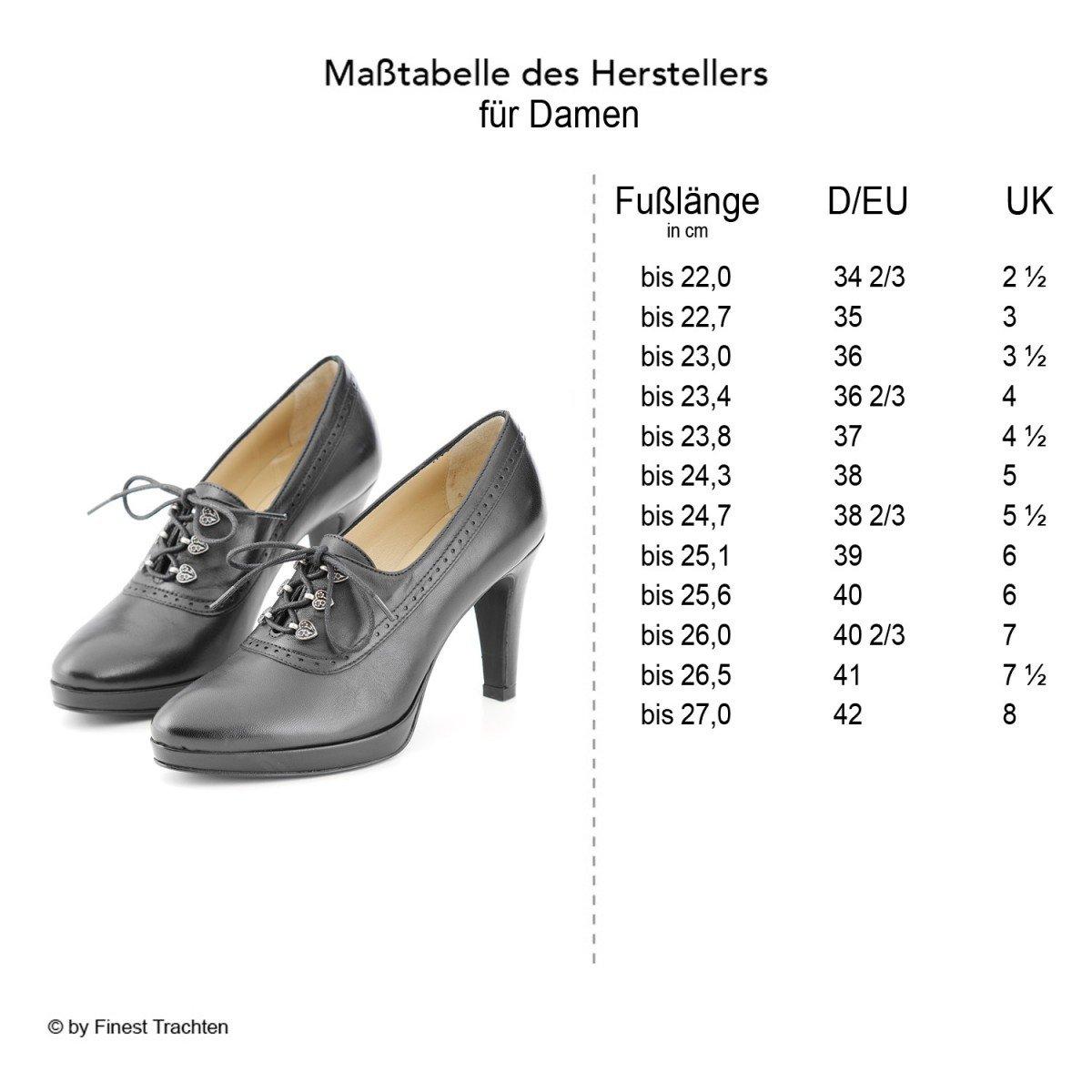 Dirndl + bua Damen Dirndl Schuhe Glattleder Glattleder