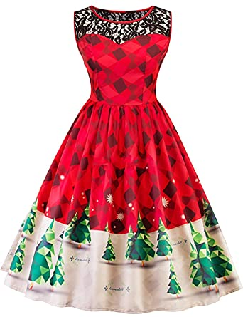 39a1e6eac4e2 Women Christmas Dress Vintage 1950s Halter Neck Print Cocktail Party Swing  (US 4-6