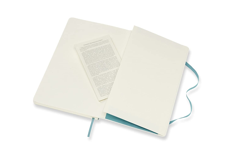 Tama/ño Extra Grande 19 x 25 cm Cuaderno Cl/ásico con P/áginas Lisas Tapa Blanda y Goma El/ástica Moleskine Color Azul Arrecife 192 P/áginas