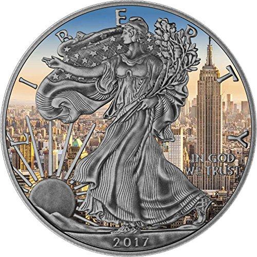 2017 BU USA 1$ American Eagle Liberty 1oz Antique Empire State Building Silver .999 Coin - Silver Coin - $1 Uncirculated BM