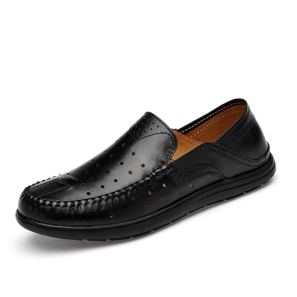Lederschuhe Männer Fahren Penny Loafers Patch Vamp Slip on Lässig Boot Mokassins Soft Rubber Sohle Hollwo Black