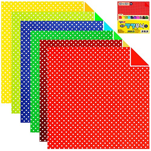 100 Sheets Double Sided Origami Paper Various Patterns (Dotted Pattern_1) (Various Patterns)
