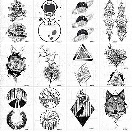 yyyDL etiqueta engomada colorida del tatuaje Negro Falso Tatuaje ...