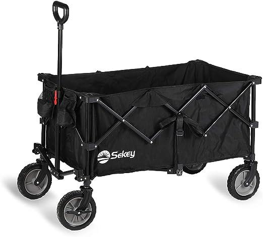 Sekey Carro Plegable con Frenos de Acero, Carro de Mano Carrito Playa Carro Transporte para Jardín, carreta de Playa, Negro: Amazon.es: Jardín