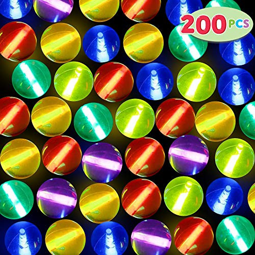 Glow In The Dark Bouncy Balls (50 Pcs Glow Bouncing Balls with 150 Pcs Glow Sticks (Total 200), Light Up Bouncy Balls for Kids, Glow in the Dark Party Supplies, School Classroom Game Rewards, Halloween Party)