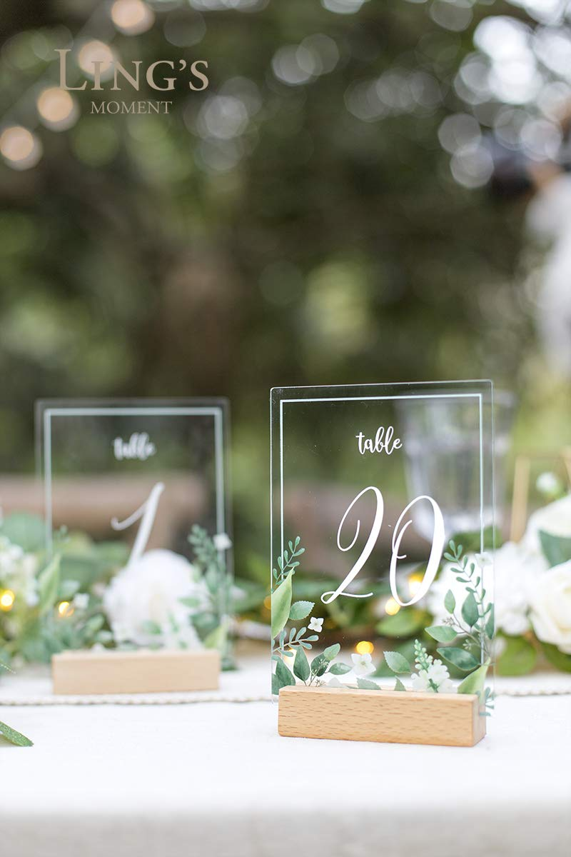 Ling's moment Acrylic Table Numbers for Wedding with Holders 1-20 Greenery Calligraphy 4x6 inch