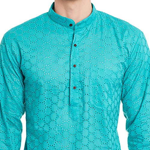 Mens Embroidered Cutwork Cotton Kurta With Churidar Pajama Trousers Machine Embroidery,Turquoise Chest Size: 34 Inch by ShalinIndia (Image #4)