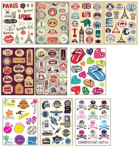 10 PCS Fixed Gear Bicycle Sticker Bikes Decorations Suitcase Sticker-02 by George Jimmy