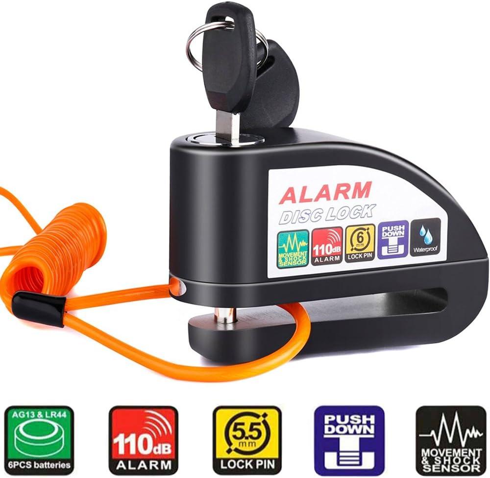 Tchipie Rouge Alarme Disc Lock 110dB anti vol Moto Roue Cadenas pour 7 mm 3
