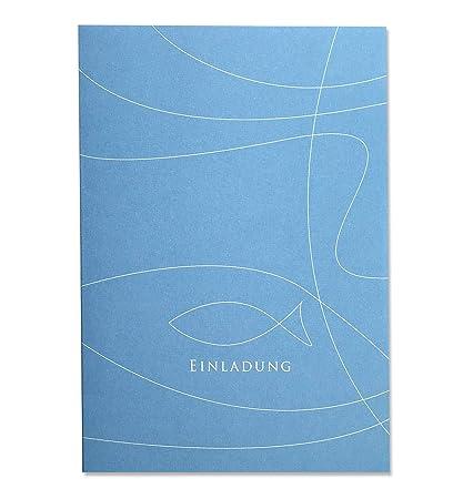 Einladungskarte Fisch Blau Zur Kommunion Konfirmation Oder Taufe Zum Bedrucken