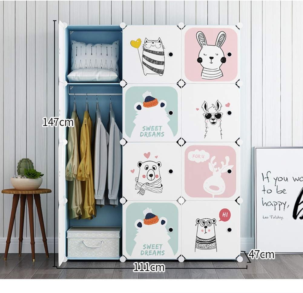 Portatile in Resina Camera da Letto Armoire Carino Cartone Animato Armadio Cubo Modulare per Bambini Dresser-a L39xw37xh147cm Bambini Guardaroba Organizzatore