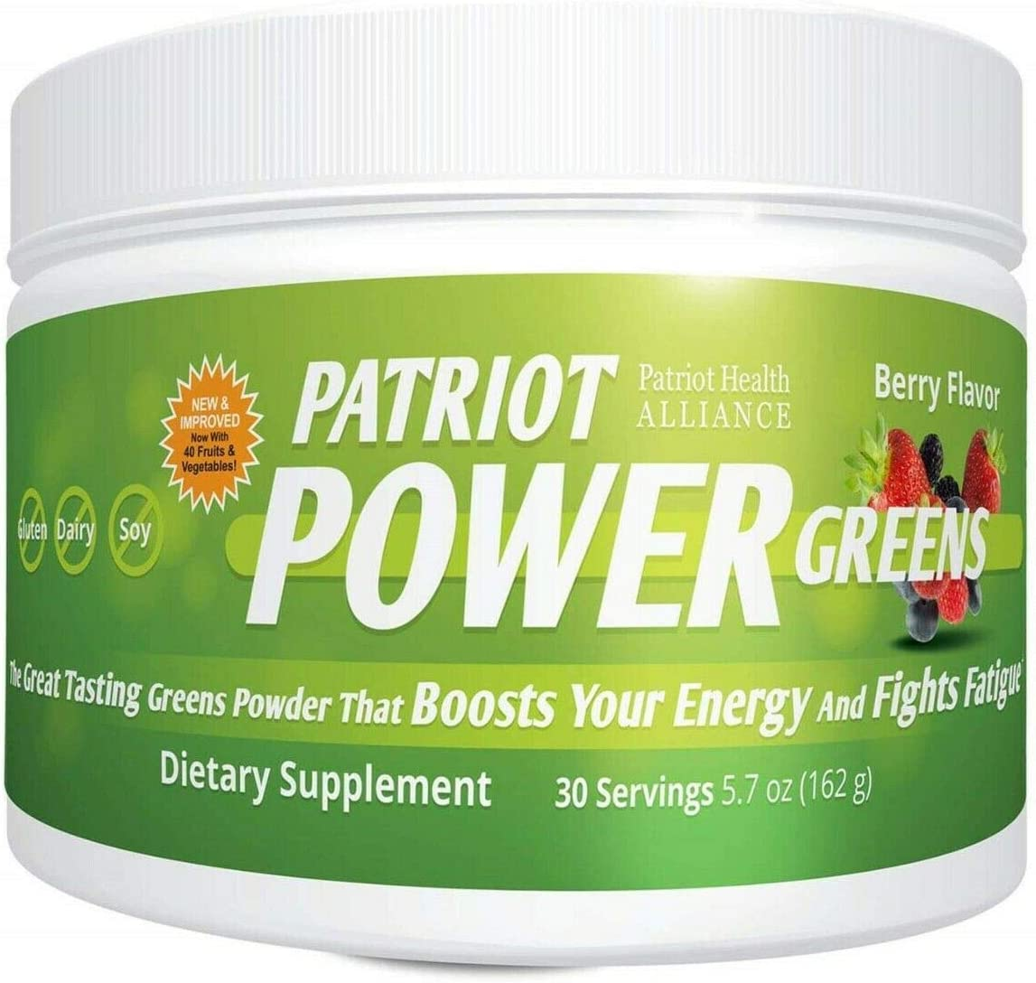 Patriot Power Greens: Green Drink - Superfood Dietary Supplement - 40+ Fruits & Vegetables -30 Day Supply - 5.7 Ounce