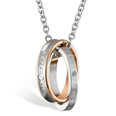 """7965d2709cf JewelryWe """"His Queen"""" Collier Pendentif Anneau Bague Entrelacé Gravure  Personnaliser Acier Inoxydable Fantaisie pour"""