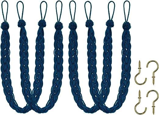 2 Rope Belt Curtain Tie with 2 Metal Hooks Buckle Holdback Drapery Curtain Tiebacks Home Queen Hand Braided Curtain Tie Back Black