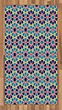 Arabian Area Rug by Ambesonne, Retro Illustration Nostalgic Arabesque Antique Geometric Star Baroque Motifs, Flat Woven Accent Rug for Living Room Bedroom Dining Room, 2.6 x 5 FT, Red Blue Yellow
