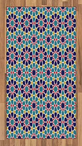 Arabian Area Rug by Ambesonne, Retro Illustration Nostalgic Arabesque Antique Geometric Star Baroque Motifs, Flat Woven Accent Rug for Living Room Bedroom Dining Room, 2.6 x 5 FT, Red Blue Yellow by Ambesonne
