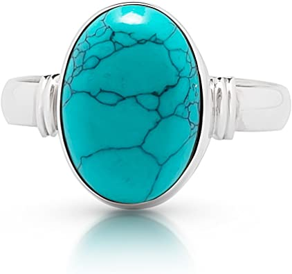 Handmade Ring Minimalist Silver Ring Synthetic Turquoise Stone Oval Ring