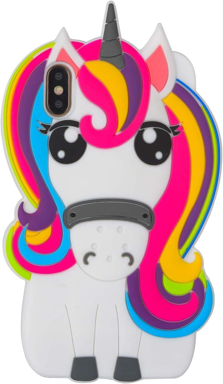Rainbow Unicorn iPhone XR Case.Awin 3D Cute Kids Girls Cartoon Rainbow Unicorn Horse Animal Soft Silicone Rubber Case for iPhone XR 6.1inch (Rainbow Unicorn)