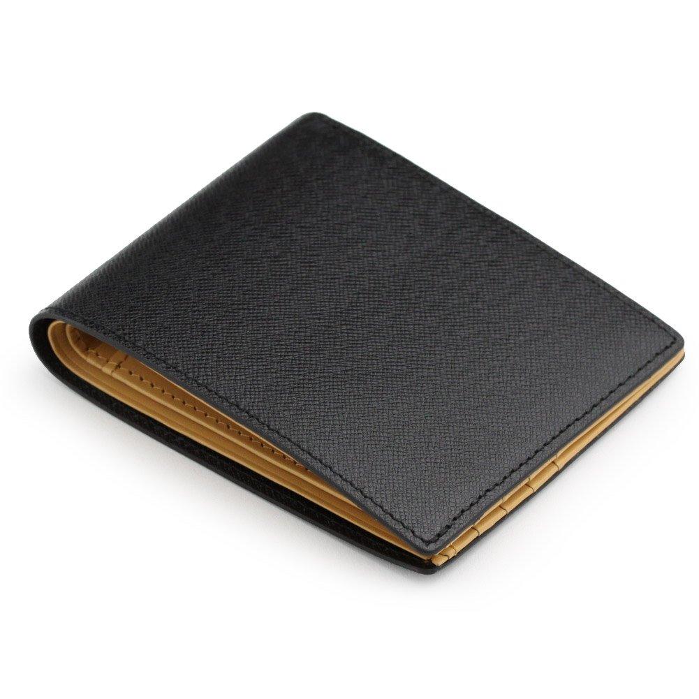 (アビエス)ABIES L.P. 本革 角シボ型押し牛革 二つ折り財布 (小銭入れなし) B00484B0G2 ブラック ブラック