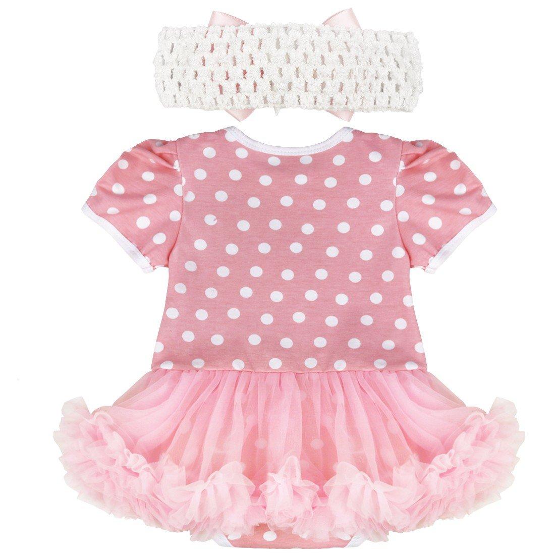 iEFiEL Baby-M/ädchen Kleidung Set Strampler Overall T/üt/ü Kleid Bekleidungsset mit Kopfband