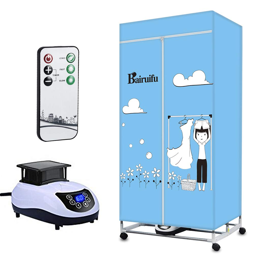Bairuifu Portable Ventless Clothes Dryer with Heater Intelligent Wireless Remote Control Operation, PTC + Negative ion Sterilization Cloths Dryer,Safe and Efficient (Foldable, Blue)
