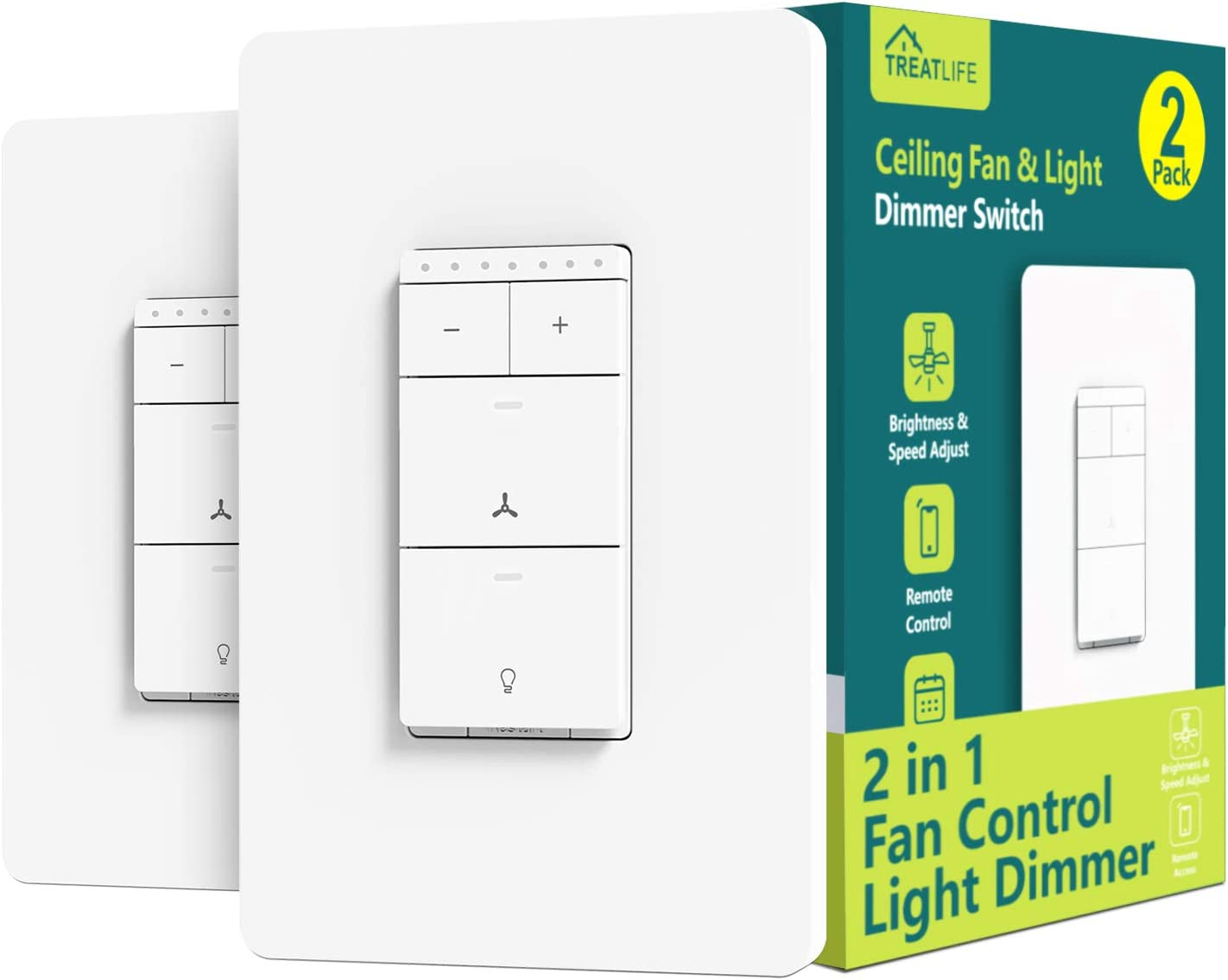 Smart Ceiling Fan Control and Dimmer Light Switch 2PACK, Neutral Wire Needed, Treatlife Single Pole Wi-Fi Light Switch Fan Speed Control, Works with Alexa/Google Assistant, Schedule, Remote Control