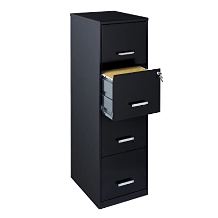 Office Dimensions 18u0026quot; 4 Drawer Metal File Cabinet, Black ...