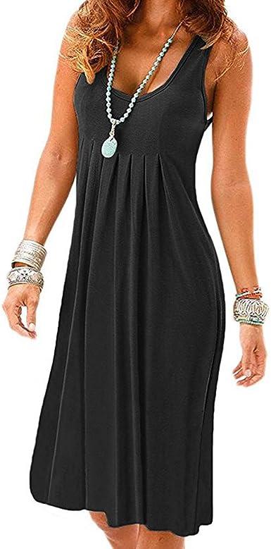 Women Bodycon Sleeveless Jersey Striped Summer Mini Tank Dress Casual Scoop neck