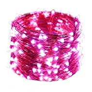 HAHOME Waterproof Fairy String Lights,33Ft 100 LEDs Indoor and Outdoor Starry Lights with Power Supply for Christmas Halloween Wedding and Party Decoration,Pink