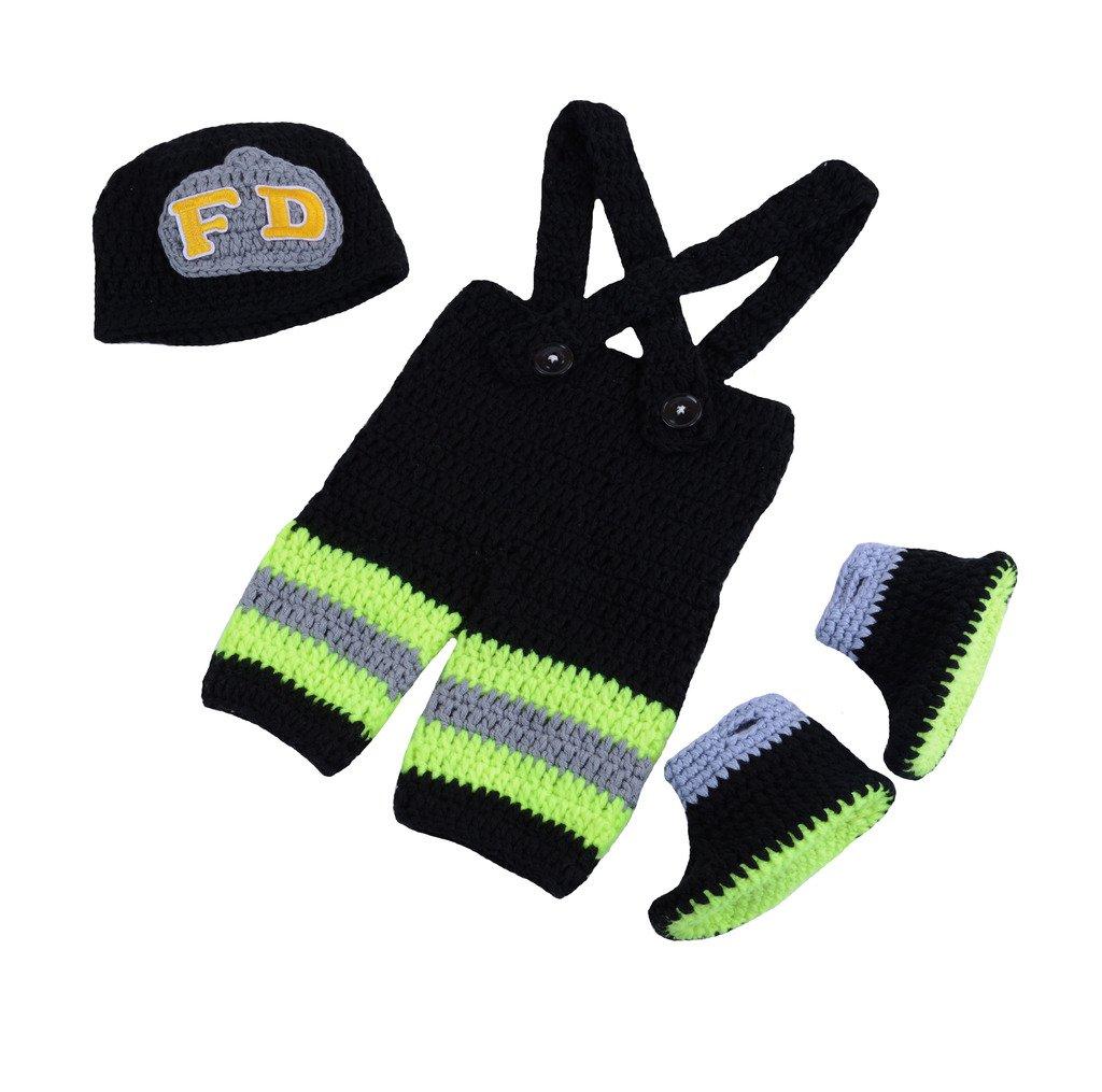 CX-Queen Newborn Baby Photography Prop Crochet Firefighter Hat Pants Boots Costume Green