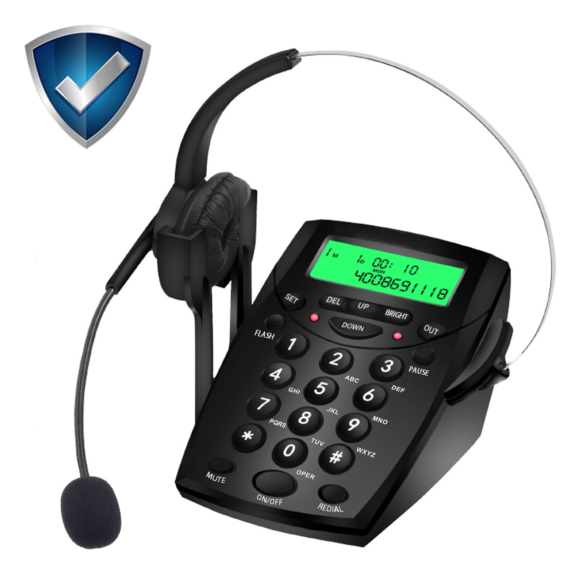 Wikoo Handsfree Telephone with Headset, Noise Cancelling Call Center Dialpad,Corded dialpad for Business and home, Comes with Noise Cancelling Headset, Very Useful and Convenient(Black)