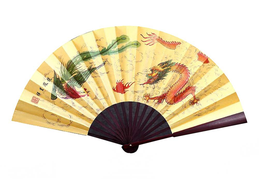 DRAGON SONIC Chinese Style Traditional Hand Held Fan Folding Fan Bamboo Hand Fan,D3