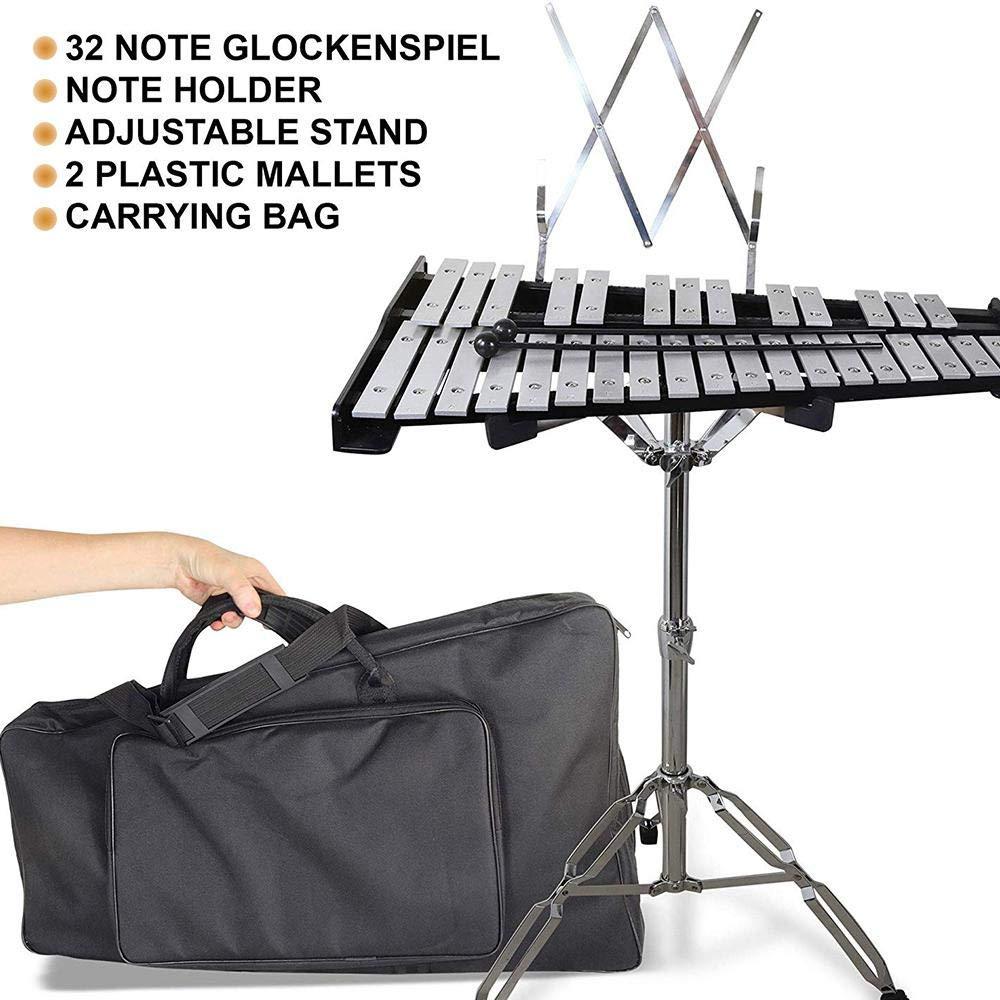 mazos y bolsa resistente Volwco Glockenspiel Xil/ófono de 32 notas profesional Glockenspiel instrumento musical de percusi/ón con soporte para ni/ños educativo//principiante//regalo de cumplea/ños