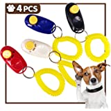 iNeith Dog Training Clickers Pet Puppy Kitten Cat Obedience Aid with Wrist Strap Black Red Blue White Pack of 4