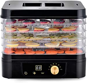 Wghz Premium Electric Food Dehydrator Machine, Digital Timer and Adjustable Thermostat Temperature Control, 5 Trays with Perfect for Beef Jerky, Yoghurt, Herbs