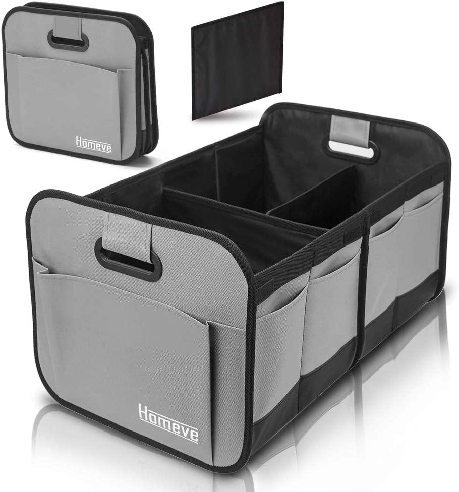 Foldable Trunk Storage Organizer, Reinforced Handles, Suitable for Any Car, SUV, Mini-van Model Size, Grey