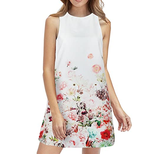 531373852f5 Amazon.com  CieKen 2019 New Summer Sleeveless Halter Neck Keyhole Back  Swing Beach Mini Sun Dress Floral Printed Dress  Clothing