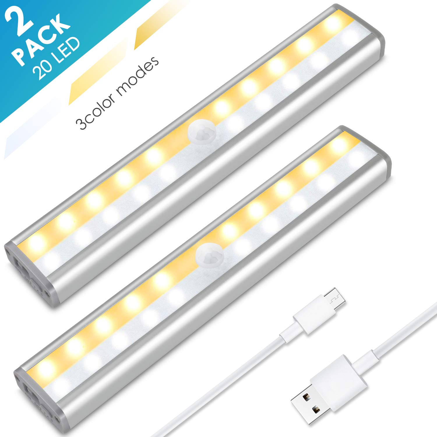 Under Cabinet Lighting, MOICO 3 Color Modes 20 LED Wireless Motion Sensor Closet Lights Rechargeable Magnetic Stick On Lights Bar for Counter, Wardrobe, Kitchen, Hallway, Stairs, 2 Pack by MOICO